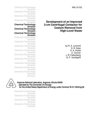 Primary view of object titled 'Development of an improved 2-cm centrifugal contactor for cesium removal from high-level waste.'.