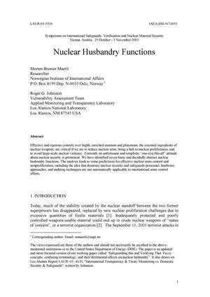Primary view of object titled 'NUCLEAR HUSBANDRY FUNCTIONS'.