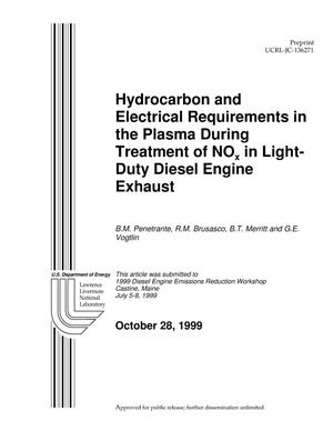 Primary view of object titled 'Hydrocarbon and Electrical Requirements in the Plasma During Treatment of NOx in Light-Duty Diesel Engine Exhaust'.