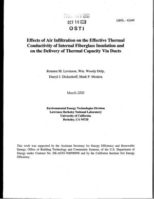 Primary view of object titled 'Effects of air infiltration on the effective thermal conductivity of internal fiberglass insulation and on the delivery of thermal capacity via ducts'.