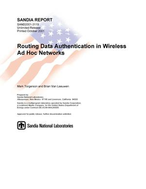 Primary view of object titled 'Routing Data Authentication in Wireless Networks'.