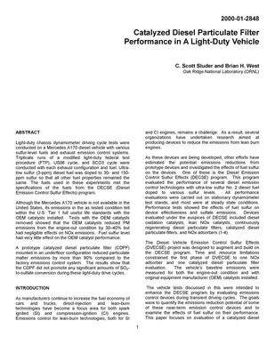 Primary view of object titled 'Catalyzed Diesel Particulate Filter Performance in a Light-Duty Vehicle'.