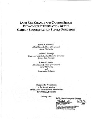Primary view of object titled 'Land-use change and carbon sinks: Econometric estimation of the carbon sequestration supply function'.
