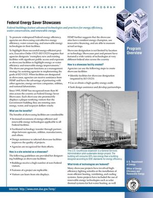 Primary view of object titled 'Federal Energy Saver Showcases Program Overview: Federal Energy Management Program (FEMP) Fact Sheet'.