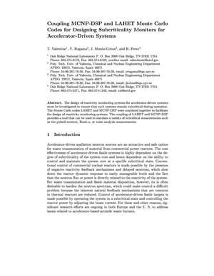 Primary view of object titled 'Coupling MCNP-DSP and LAHET Monte Carlo Codes for Designing Subcriticality Monitors for Accelerator-Driven Systems'.
