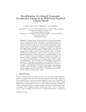 Primary view of object titled 'Parallelization of a subgrid orographic precipitation scheme in an MM5-based regional climate model.'.