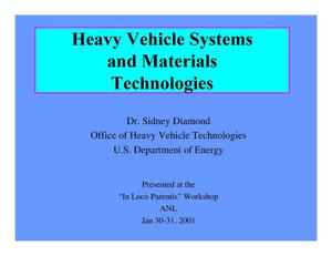 Primary view of object titled 'Heavy Vehicle Systems and Materials Technologies'.
