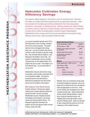 Primary view of object titled 'Nebraska Cultivates Energy Efficiency Savings: Weatherization Assistance Close-Up Fact Sheet'.