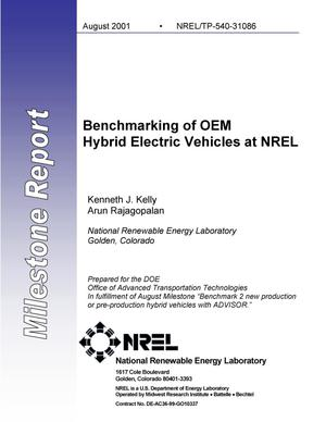 Primary view of object titled 'Benchmarking of OEM Hybrid Electric Vehicles at NREL: Milestone Report'.