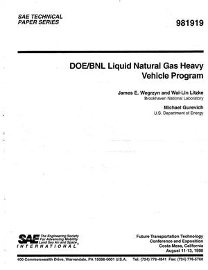 Primary view of object titled 'DOE/BNL Liquid Natural Gas Heavy Vehicle Program'.