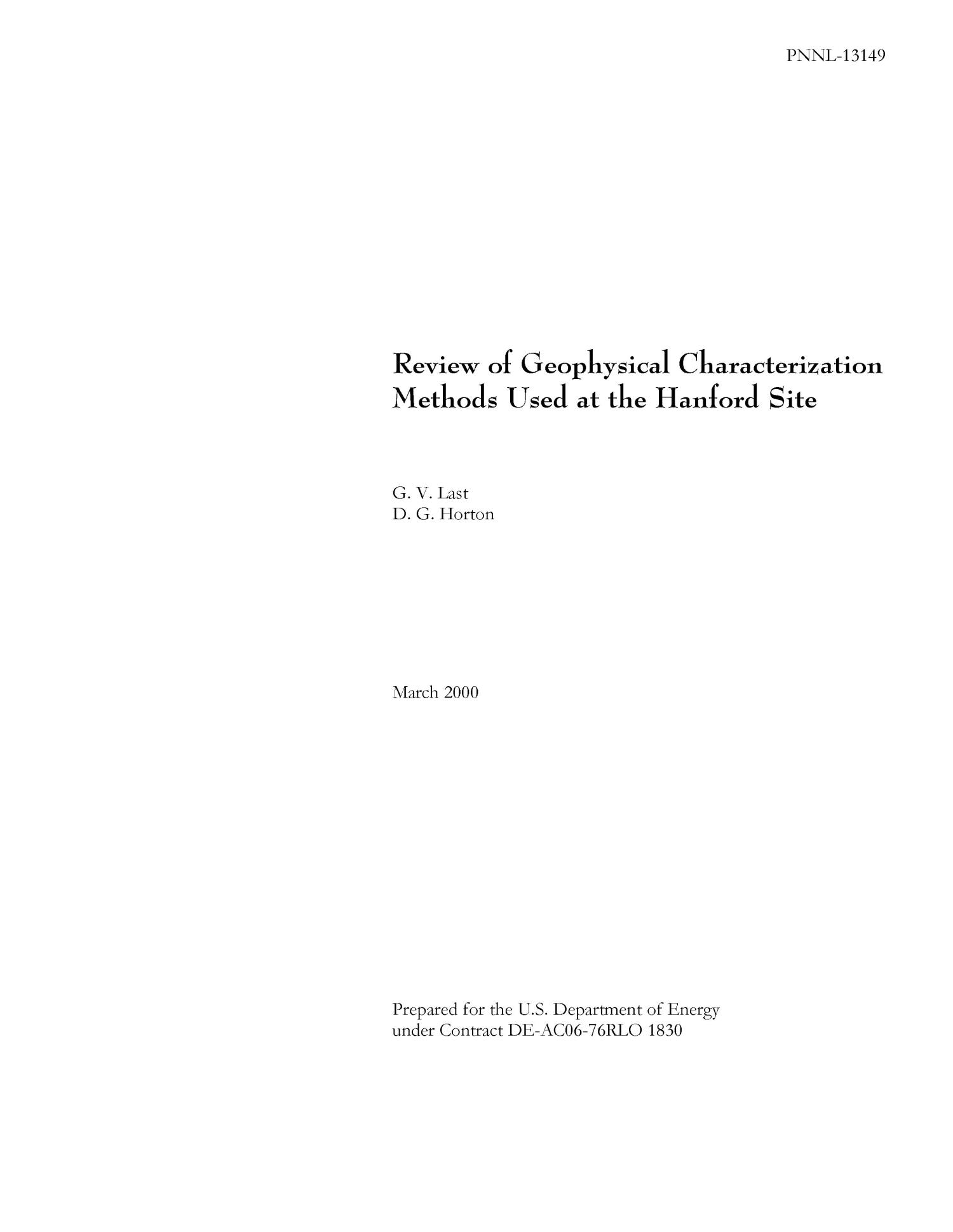 Review of Geophysical Characterization Methods Used at the Hanford Site                                                                                                      [Sequence #]: 1 of 113