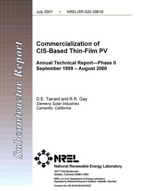Primary view of object titled 'Commercialization of CIS-Based Thin-Film PV: Annual Technical Report--Phase II, September 1999 - August 2000'.