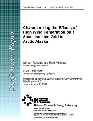 Primary view of object titled 'Characterizing the Effects of High Wind Penetration on a Small Isolated Grid in Arctic Alaska'.