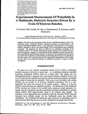 Primary view of object titled 'Experimental measurements of wakefields in a multimode, dielectric structure driven by a train of electron bunches.'.