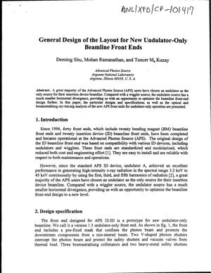 Primary view of object titled 'General design of the layout for new Undulator-only beamline front ends.'.
