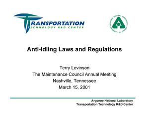Primary view of object titled 'Anti-Idling Laws and Regulations'.