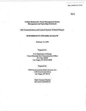 Primary view of object titled 'SITE COMMUNICATIONS AND CONTROL SYSTEMS TECHNICAL REPORT'.