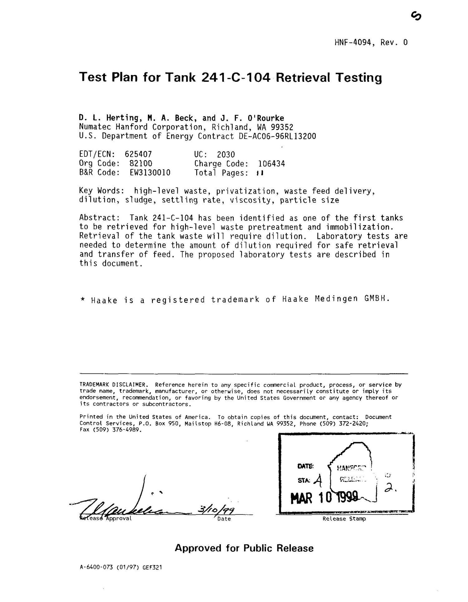 Tank plan for tank 241-C-104 retrieval testing                                                                                                      [Sequence #]: 2 of 12