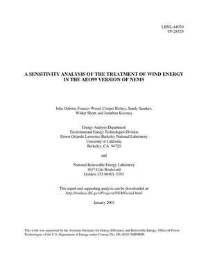Primary view of object titled 'A sensitivity analysis of the treatment of wind energy in the AEO99 version of NEMS'.