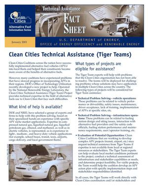 Primary view of object titled 'Clean Cities Technical Assistance (Tiger Teams): Clean Cities Alternative Fuel Information Series, Technical Assistance Fact Sheet'.