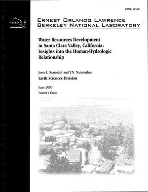 Primary view of object titled 'Water resources development in Santa Clara Valley, California: insights into the human-hydrologic relationship'.