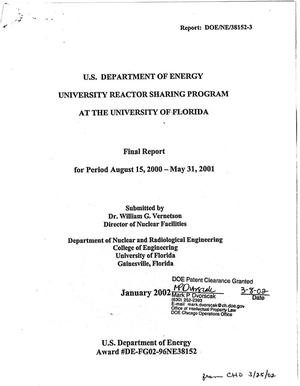 Primary view of object titled 'U.S. Department of Energy University Reactor Sharing Program at the University of Florida. Final report for period August 15, 2000 - May 31, 2001'.