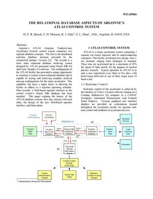 Primary view of object titled 'The relational database aspects of Argonne's atlas control system.'.