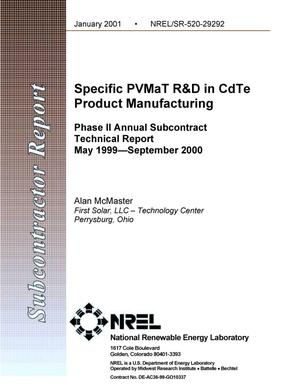 Primary view of object titled 'Specific PVMaT R and D in CdTe Product Manufacturing; Phase II Annual Subcontract Technical Report; May 1999--September 2000'.