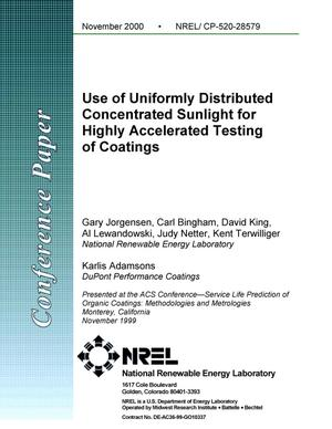 Primary view of object titled 'Use of Uniformly Distributed Concentrated Sunlight for Highly Accelerated Testing of Coatings'.