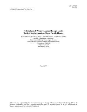 Primary view of object titled 'A database of window annual energy use in typical North American residences'.