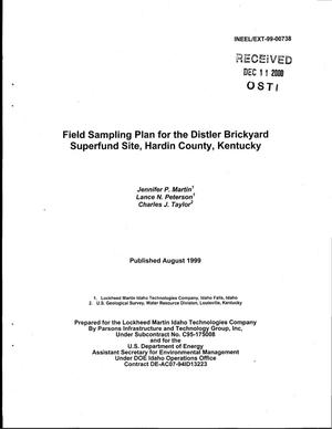 Primary view of object titled 'Field Sampling Plan for the Distler Brickyard Superfund Site, Hardin County, Kentucky'.
