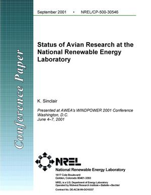 Primary view of object titled 'Status of Avian Research at the National Renewable Energy Laboratory'.
