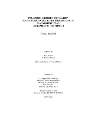 Primary view of Palisades Wildlife Mitigation : South Fork Snake River Programmatic Management Plan: Implementation Phase I : Final Report 1993.