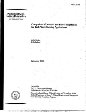 Primary view of object titled 'Comparison of Nozzles and Flow Straighteners for Tank Waste Sluicing Applications'.