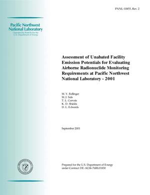 Primary view of object titled 'Assessment of Unabated Facility Emission Potentials for Evaluating Airborne Radionuclide Monitoring Requirements at Pacific Northwest National Laboratory - 2001'.
