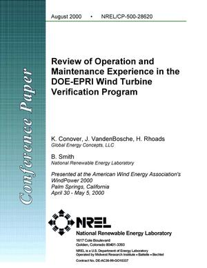 Primary view of object titled 'Review of Operation and Maintenance Experience in the DOE-EPRI Wind Turbine Verification Program'.