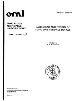 Primary view of object titled 'Assessment and Testing of Long-Line Interface Devices'.