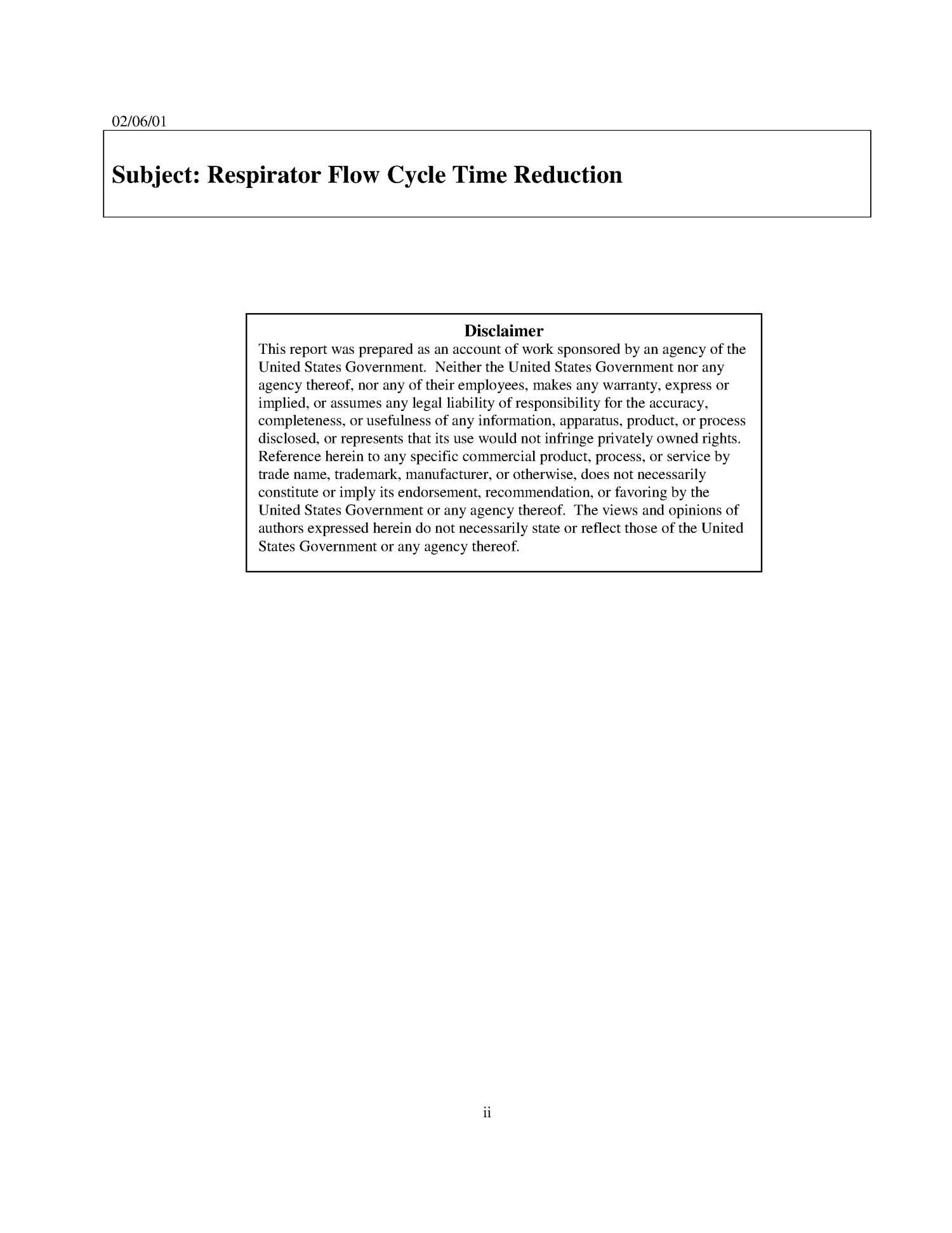 Y-12 Respirator Flow Cycle Time Reduction Project                                                                                                      [Sequence #]: 2 of 26