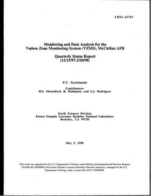 Primary view of object titled 'Monitoring and data analysis for the Vadose zone monitoring system (VZMS), McClellan AFB - Quarterly Status Report - 11/15/97-2/20/98'.