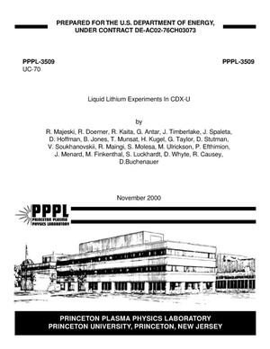 Primary view of object titled 'Liquid Lithium Experiments in CDX-U'.