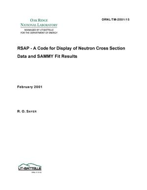Primary view of object titled 'RSAP - A Code for Display of Neutron Cross Section Data and SAMMY Fit Results'.