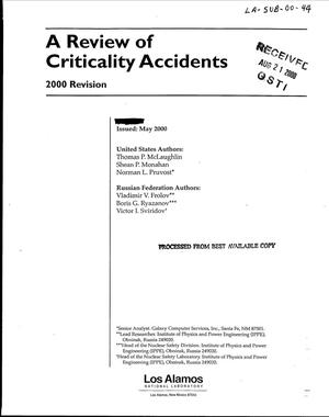 Primary view of object titled 'A REVIEW OF CRITICALITY ACCIDENTS'.