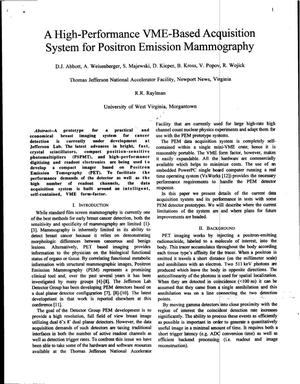 Primary view of object titled 'A High-Performance VME-Based Acquisition System for Positron Emission Mammography'.