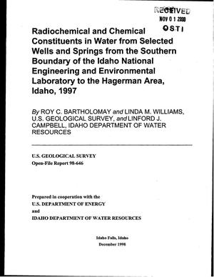 Primary view of object titled 'Radiochemical and Chemical Constituents in Water from Selected Wells and Springs from the Southern Boundary of the Idaho National Engineering and Environmental Laboratory to the Hagerman Area, Idaho, 1997'.