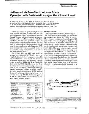 Primary view of object titled 'Jefferson Lab Free-Electron Laser Starts Operation with Sustained Lasing at the Kilowatt Level'.