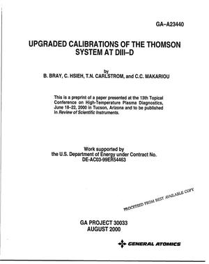 Primary view of object titled 'Upgraded Calibrations of the Thomson System at DIII-D'.
