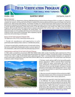 Primary view of object titled 'Field Verification Program for Small Wind Turbines, Quartelry Report: 2nd Quarter, Issue No.1, October 2000'.