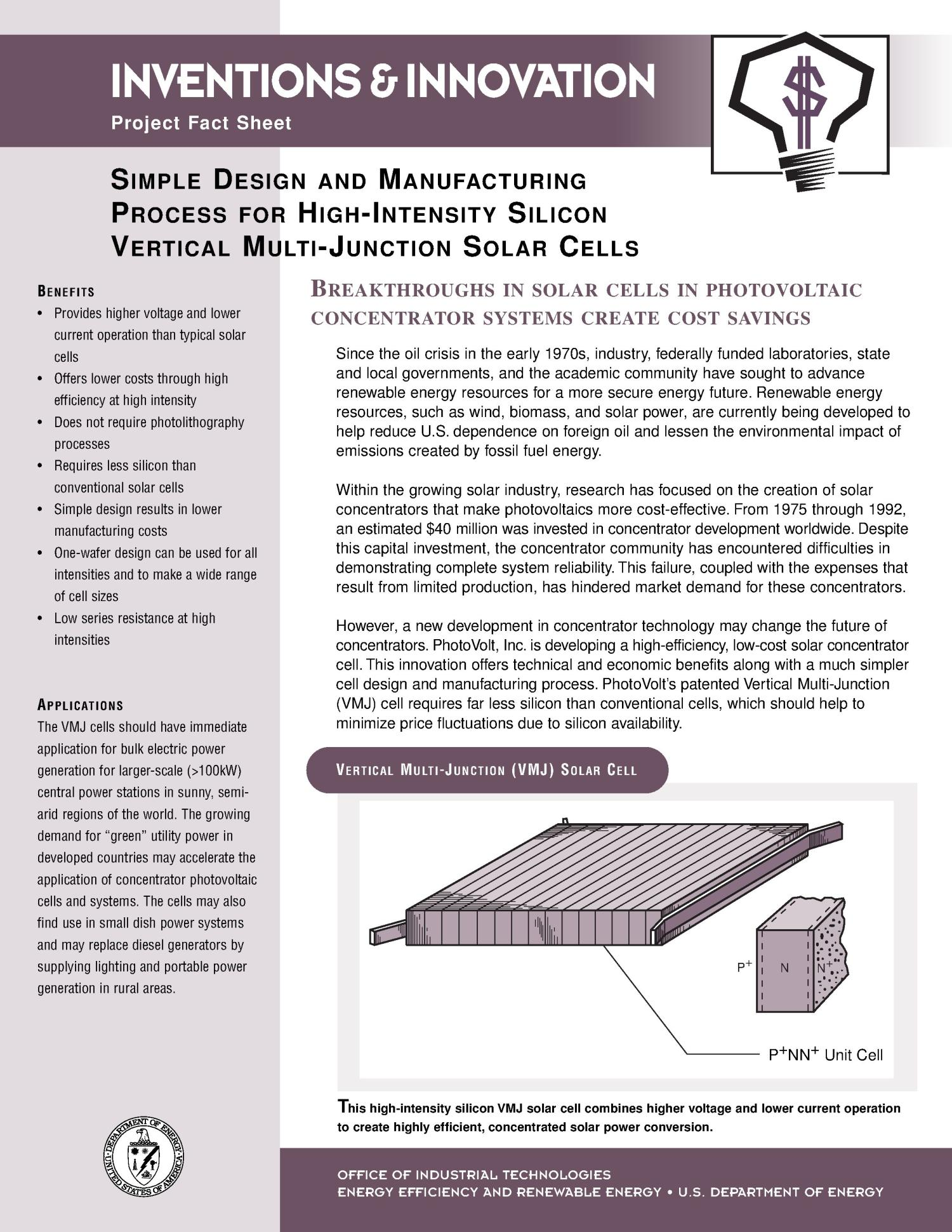 Simple design and manufacturing process for high intensity silicon simple design and manufacturing process for high intensity silicon vertical multi junction solar cells inventions and innovation project fact sheet page sciox Image collections