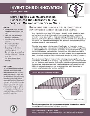 Primary view of object titled 'Simple Design and Manufacturing Process for High-Intensity Silicon Vertical Multi-Junction Solar Cells: Inventions and Innovation Project Fact Sheet'.