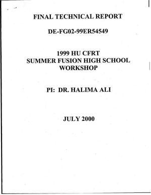 Primary view of object titled 'HU CFRT Summer 1999 Fusion Science High School Workshop'.